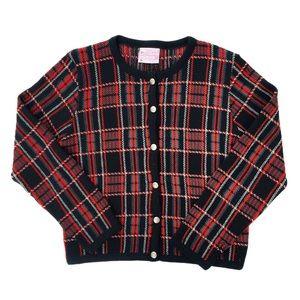 Vintage Pendleton 1980s Tartan Plaid Wool Cardigan